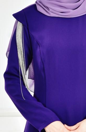 Robe de Soirée Manches Volantes 1040-03 Pourpre 1040-03