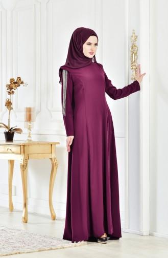 Abendkleid mit Volants 1040-02 Zwetschge 1040-02