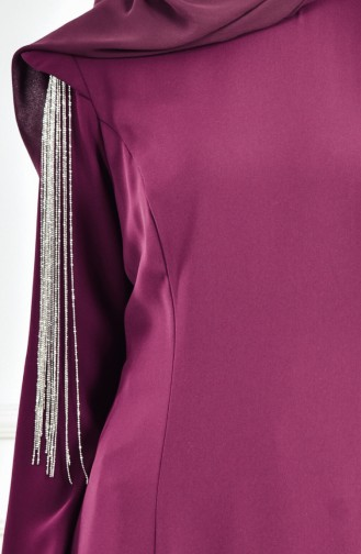 فستان سهرة بتصميم اكمام مُزينة 1040-02 لون ارجواني 1040-02