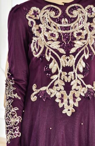 Robe de Soirée a Paillettes 1510-01 Plum 1510-01