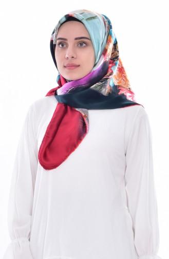Sarar Silk Scarf 1100-01 Red Aqua Green 1100-01