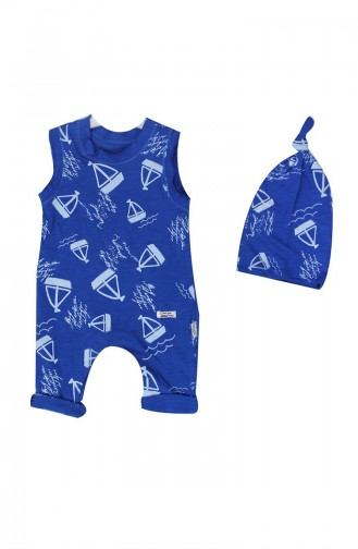 Baby 2 Pcs Sailboat Patterned Overalls WG8270-02 Blue 8270-02