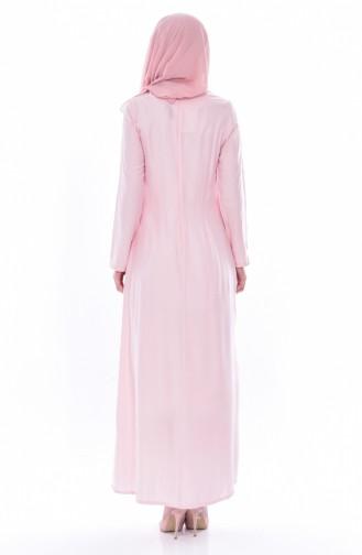 فستان مُنقط بتصميم موصول بقطعة 2969-03 لون وردي 2969-03