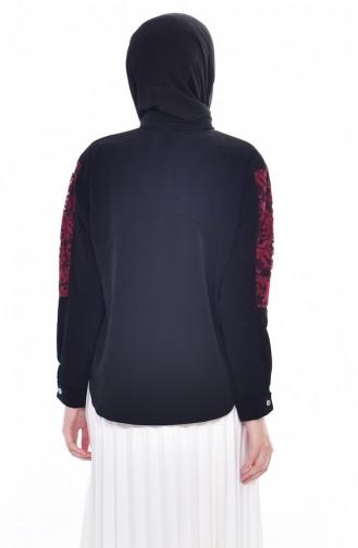 Asymmetrische Bluse mit Spitzen 1070-01 Schwarz 1070-01