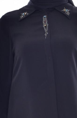 Büyük Beden Taş Baskılı Tunik 4012-01 Siyah 4012-01