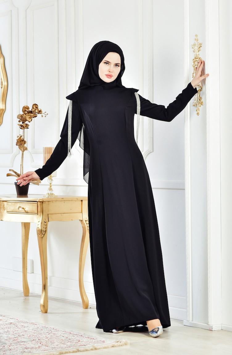 6d8209c7d570c فستان سهرة بتصميم اكمام مُزينة 1040-01 لون اسود 1040-01