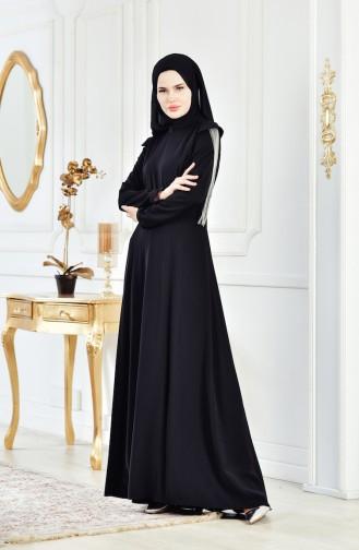 Robe de Soirée Manches Volante 1040-01 Noir 1040-01