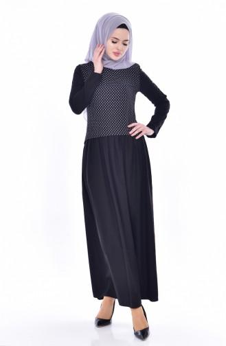فستان مُنقط بتصميم موصول بقطعة 2969-01 لون أسود 2969-01
