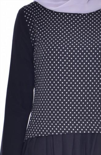 Setaussehendes Gepunktes Kleid 2969-01 Schwarz 2969-01