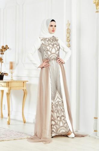 فستان يتميز بتفاصيل من الترتر 1770-02 لون بُني مائل للرمادي 1770-02