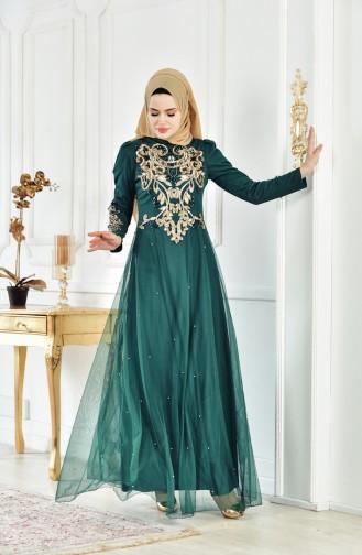 Robe de Soirée a Paillettes 1510-02 Vert emeraude 1510-02