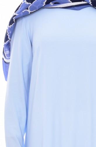 تونيك غير مُتماثل الطول 1220-04 لون ازرق فاتح 1220-04