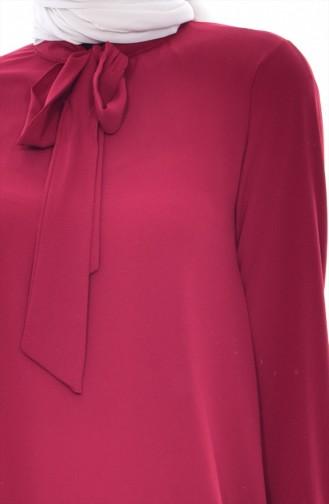 Blouse Col Cravate 1022-14 Bordeaux 1022-14