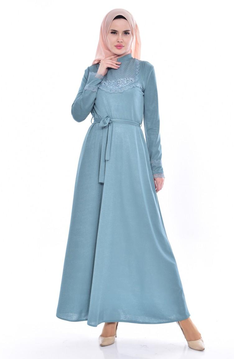 148b3254ac81e Lace Belted Dress 1186-01 Almond Green 1186-01