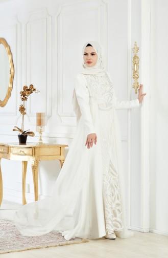 Sequined Evening Dress 1770A-01 Light Beige 1770A-01