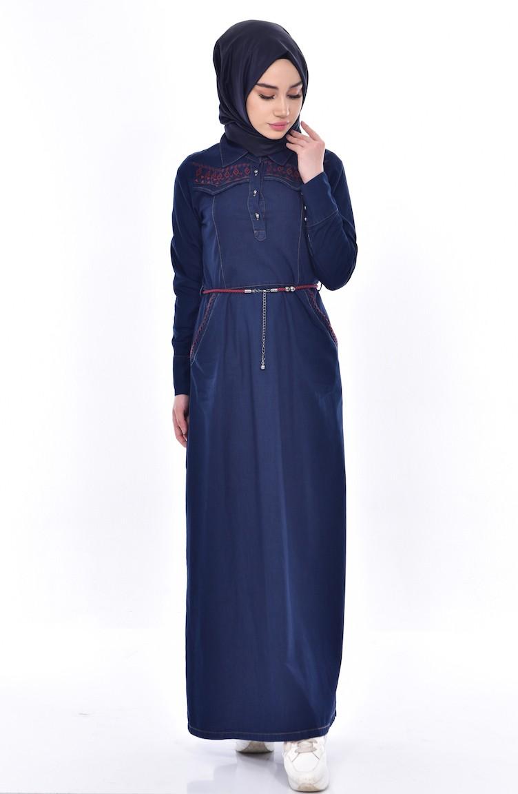 98b74773579b1 Your Blue Sefamerve Denim · İşlemeli Kot Elbise ...
