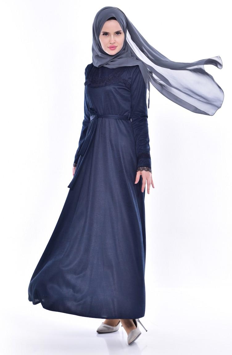 2337f7f6dfe Lace Belted Dress 1186-05 Navy Blue 1186-05