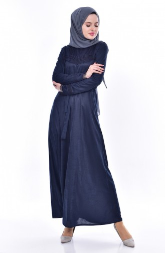Lace Belted Dress 1186-05 Navy Blue 1186-05