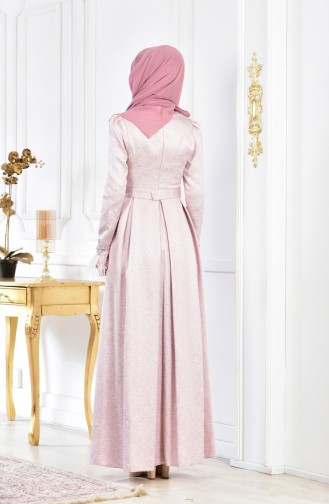Feathers Belted Evening Dress 1561-01 Pink 1561-01