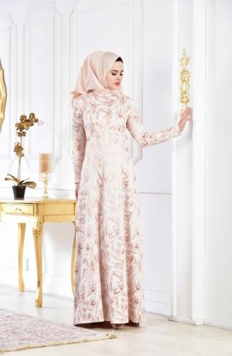فستان بتصميم مُطبع 1482-02 لون وردي 1482-02