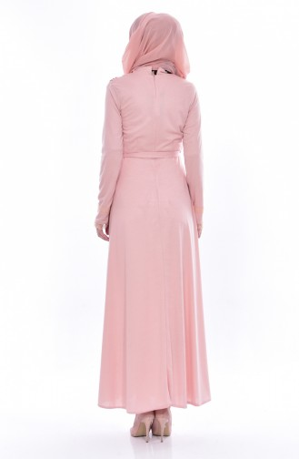 فستان بحزام خصر وتفاصيل من الدانتيل 1186-07 لون وردي 1186-07