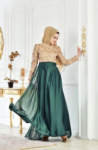 Sequin Belted Evening Dress 1102-01 Emerald Green Gold 1102-01