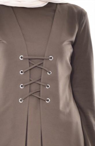 Setaussehende Tunika mit Schnürer 2000-05 Khaki 2000-05