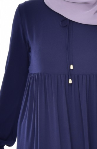 Ruched Dress 1025-02 Navy Blue 1025-02