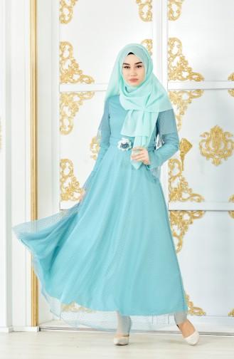 Kleid mit Tüll 8190-01 Mandel Grün 8190-01