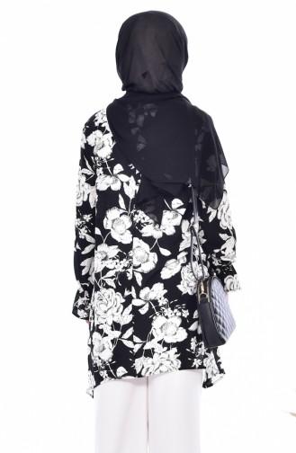 Blumen Gemusterte Tunika 3906-01 Schwarz Weiß 3906-01