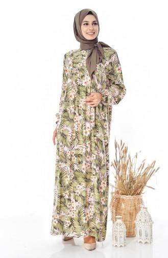 Çiçek Desenli Elbise 4005A-01 Haki