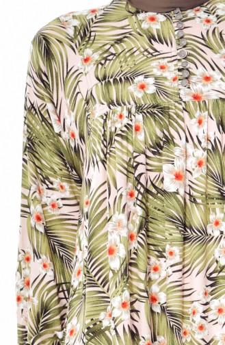 فستان بتصميم مورّد 4005A-01 لون اخضر كاكي 4005A-01