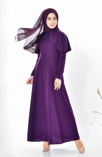 Kleid mit Perlen 0555-06 Lila 0555-06