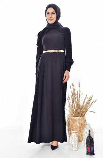 فستان بتصميم حزام للخصر 1401-01 لون اسود 1401-01