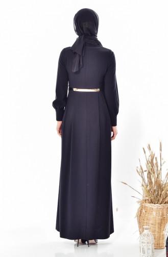 Kemerli Elbise 1401-01 Siyah