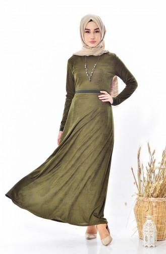 Kleid mit Halskette 1865-01 Khaki 1865-01