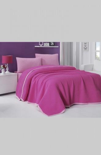 طقم لحاف سريرقطن بتصميم مفرد 0003-04 لون فوشي 0003-04