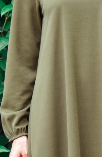 Kolu Lastikli Elbise 6666-03 Haki