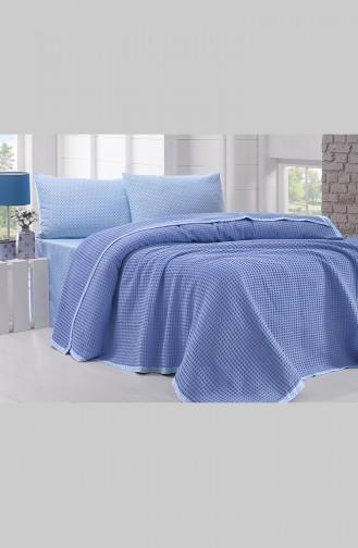طقم لحاف سريرقطن مُزدوج 0002-01 لون ازرق 0002-01