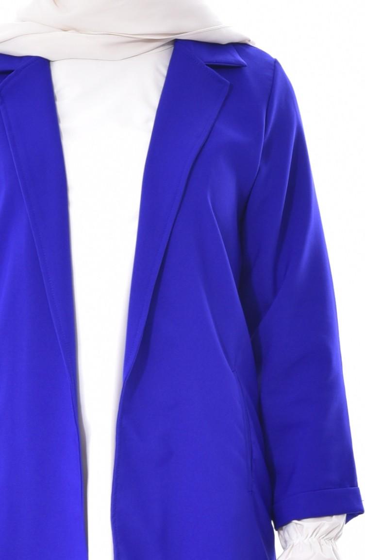 Veste longue bleu roi