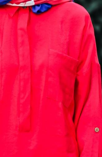 Tunique a Boutons Cachés 1238-01 Rouge 1238-01