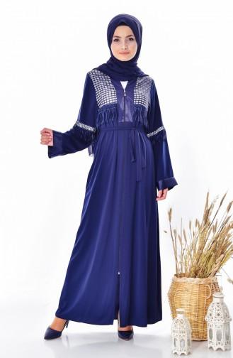 Tasseled Abaya 7757-03 Navy Blue 7757-03
