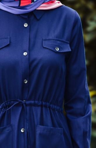 Longue Tunique a Boutons 1164-07 Bleu Marine 1164-07