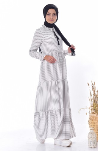 Striped Lace-up Dress 1373-02 White 1373-02