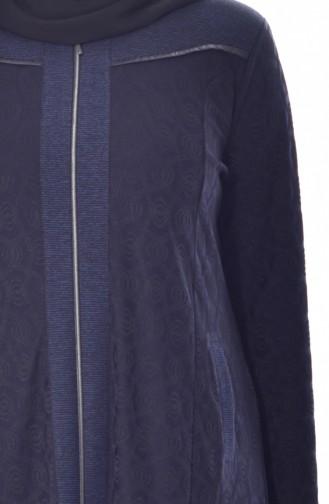 Pardessus Jacquard Grande Taille 4365-03 Bleu Marine 4365-03