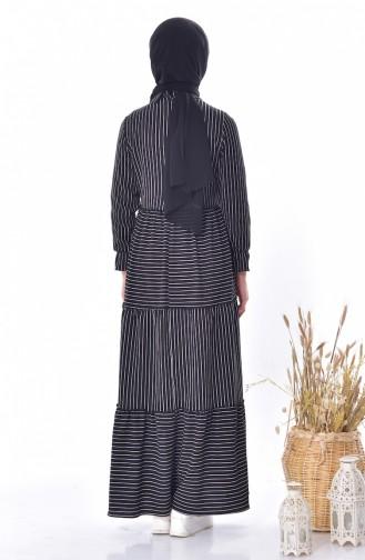 فستان بتصميم مُخطط برباط 1373-01 لون اسود 1373-01
