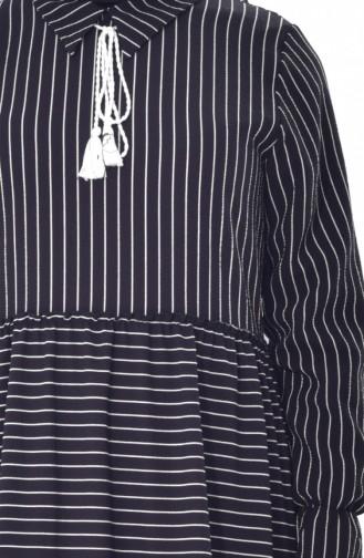 Gestreiftes Kleid mit Schnürer 1373-01 Schwarz 1373-01