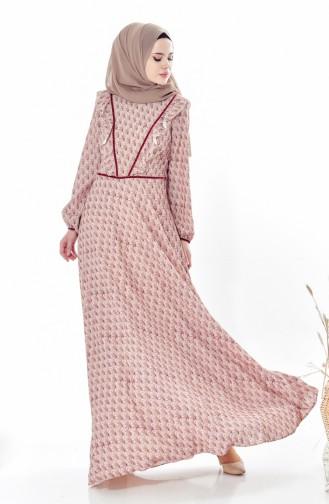 Gemustertes Kleid mit Falbel 28308-01 Weinrot 28308-01