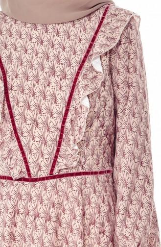 Desenli Fırfırlı Elbise 28308-01 Bordo 28308-01