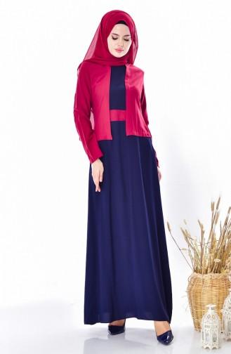 فستان بتصميم موصول بجاكيت 5739-04 لون خمري 5739-04